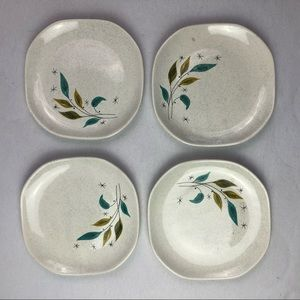 Sovereign Potters Dining - Set of 4 dessert plates Mid-Century starburst